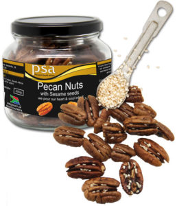 Pecan nuts with sesame seeds